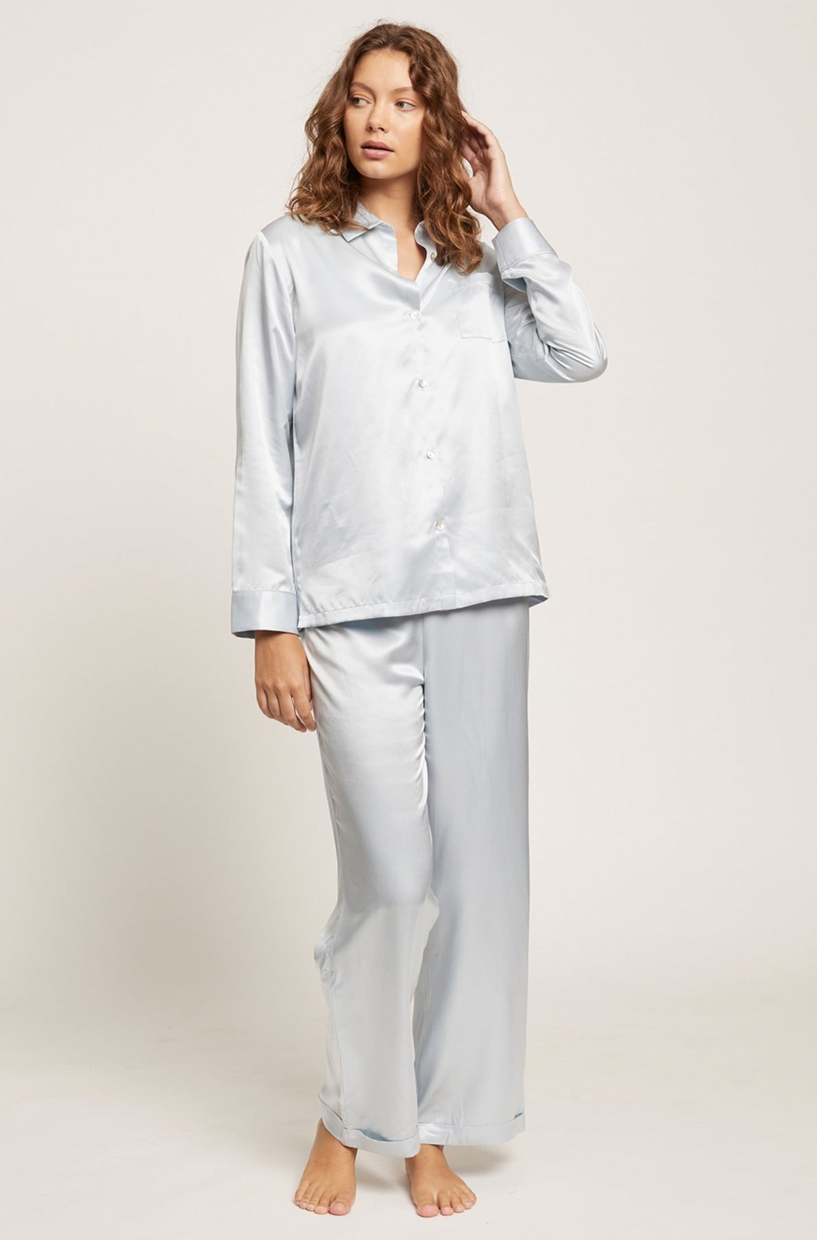 Ice Blue Washable Silk Pyjama Set