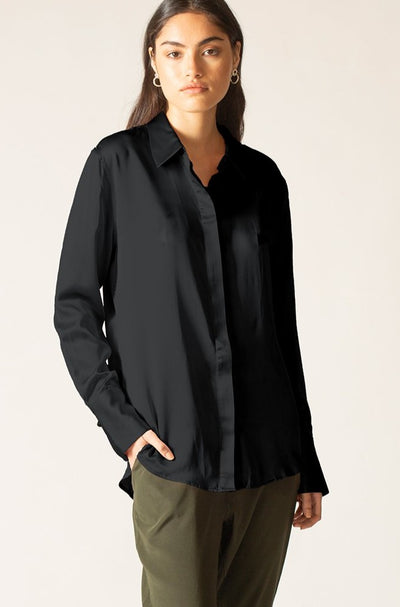 Ginia RTW,Black Onyx Hammered Silk Poppy Shirt,Shirts