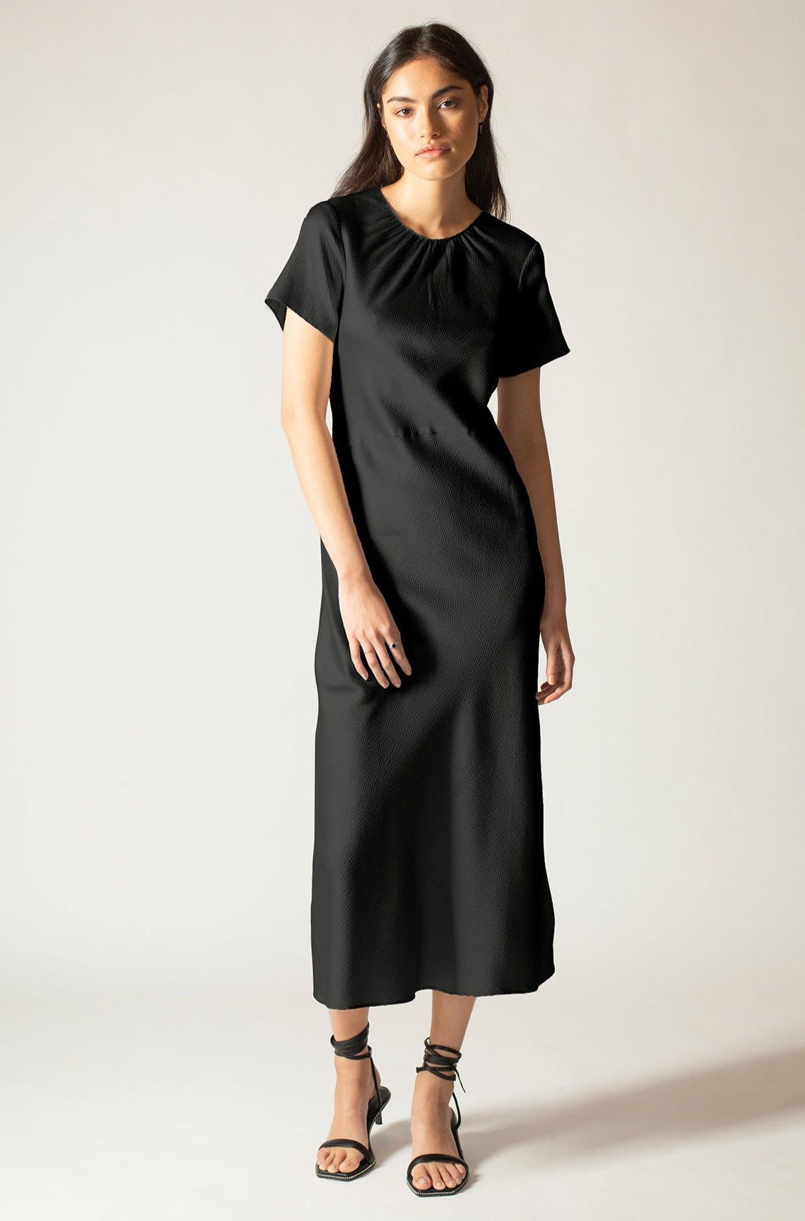 Black Onyx Hammered Silk Carli Dress