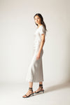 Ginia RTW,Silver Hammered Silk Carli Dress,Dresses
