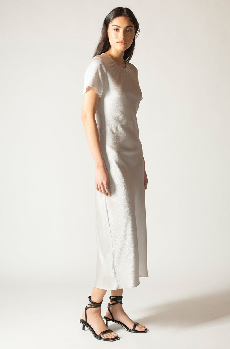 Silver Hammered Silk Carli Dress