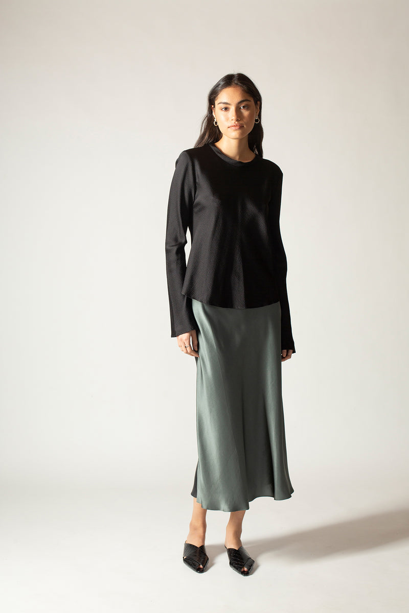 Ginia RTW,Urban Blue and Black Boa Silk Satin Skirt,Skirt