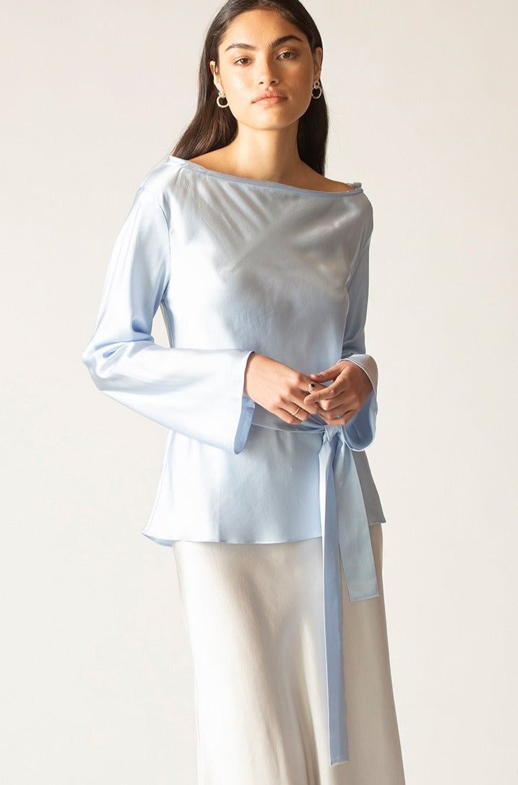 Ginia RTW,Sky Ella Silk Satin Top,Tops