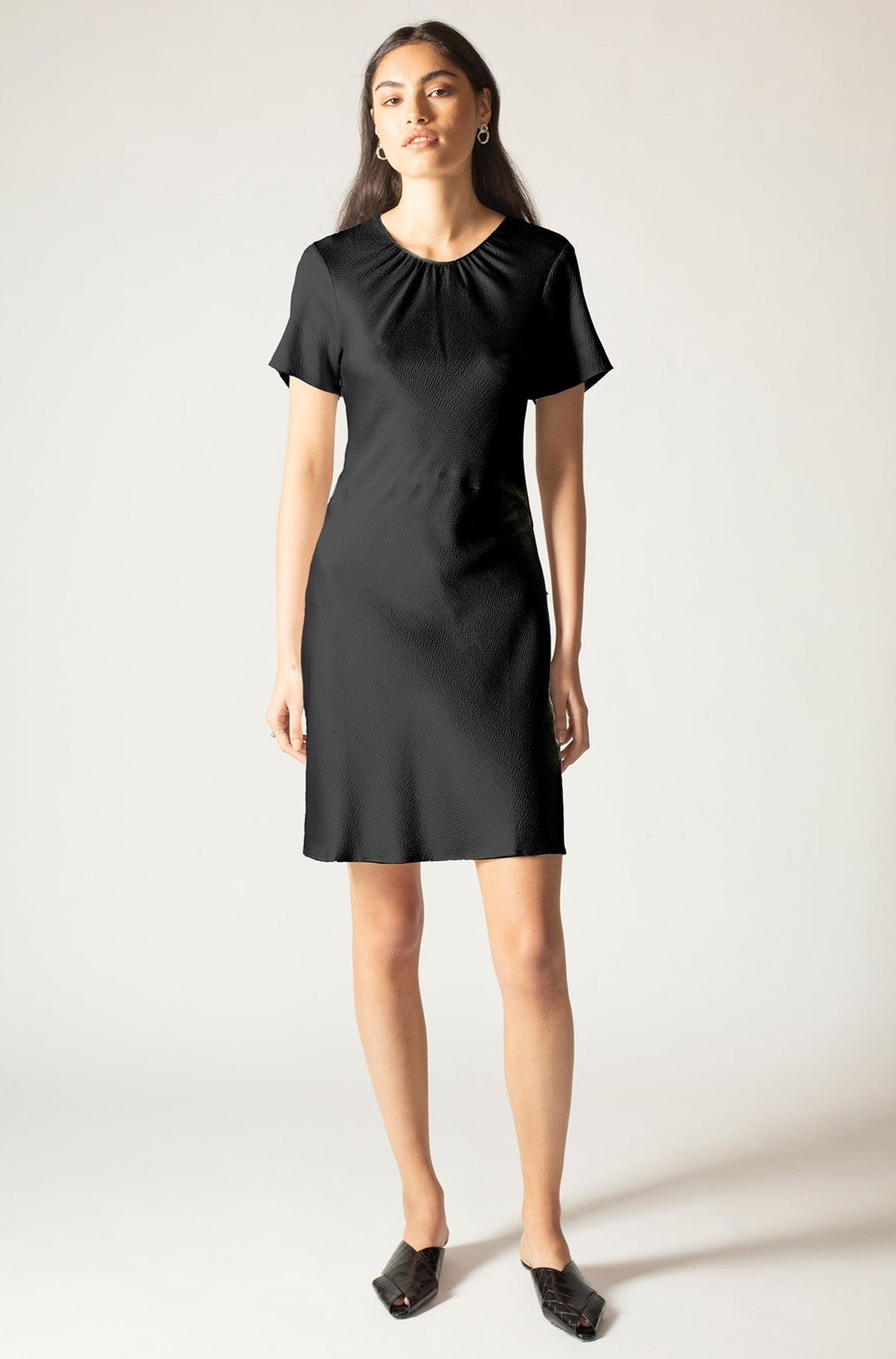 Black Onyx Hammered Silk Carli Mini Dress