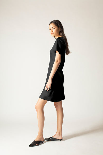 Ginia RTW,Black Onyx Hammered Silk Carli Mini Dress,Dresses