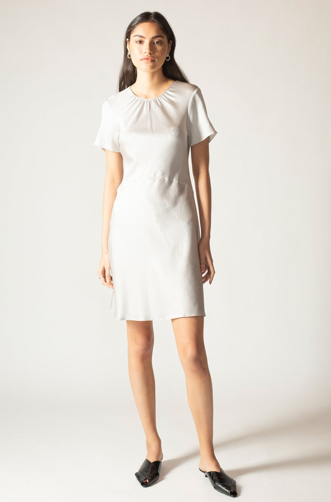 Silver Hammered Silk Carli Mini Dress