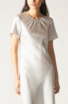 Ginia RTW,Silver Hammered Silk Carli Mini Dress,Dresses