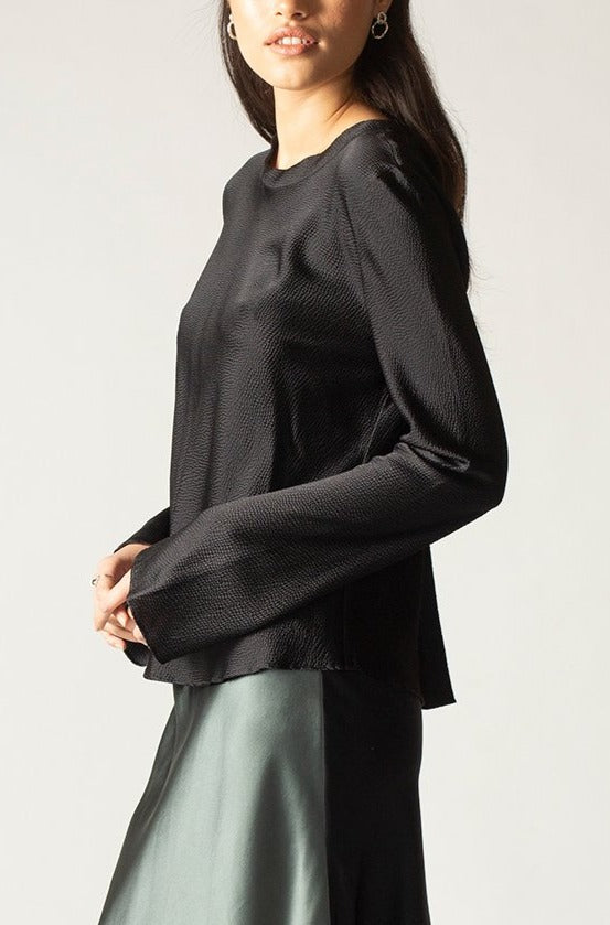 Ginia RTW,Black Onyx Carli Long Sleeve Top,Tops