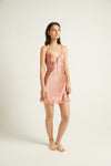 GINIA,Silk Chemise with Pintucks and Lace,Chemise