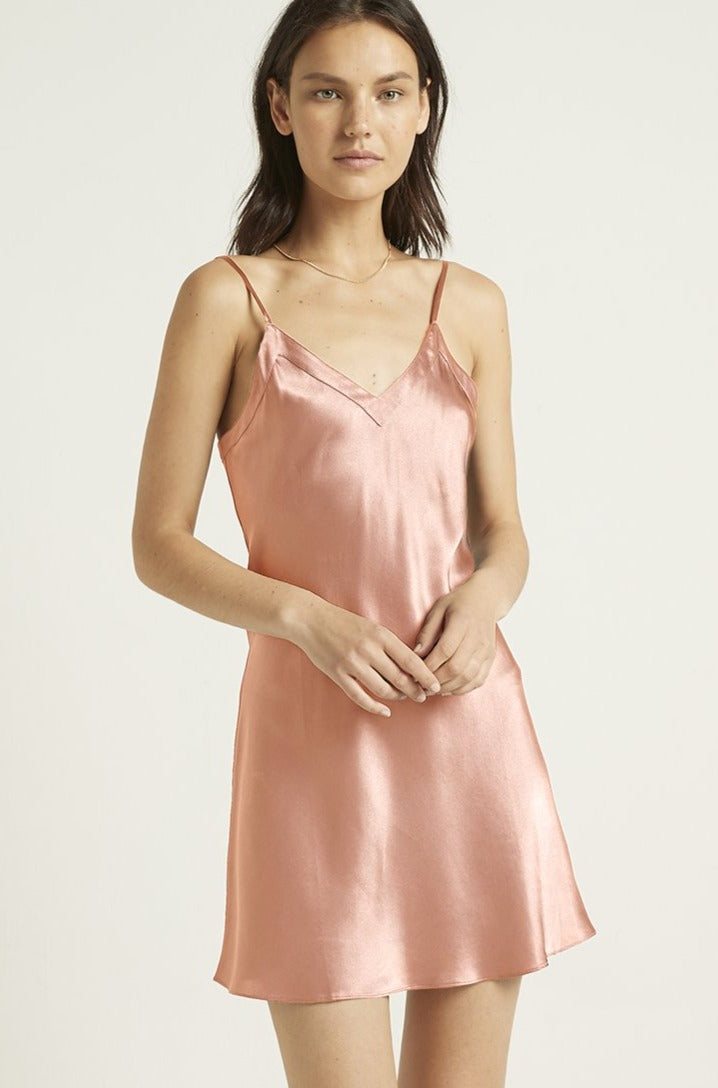 Canyon Rose Silk V Neck Chemise