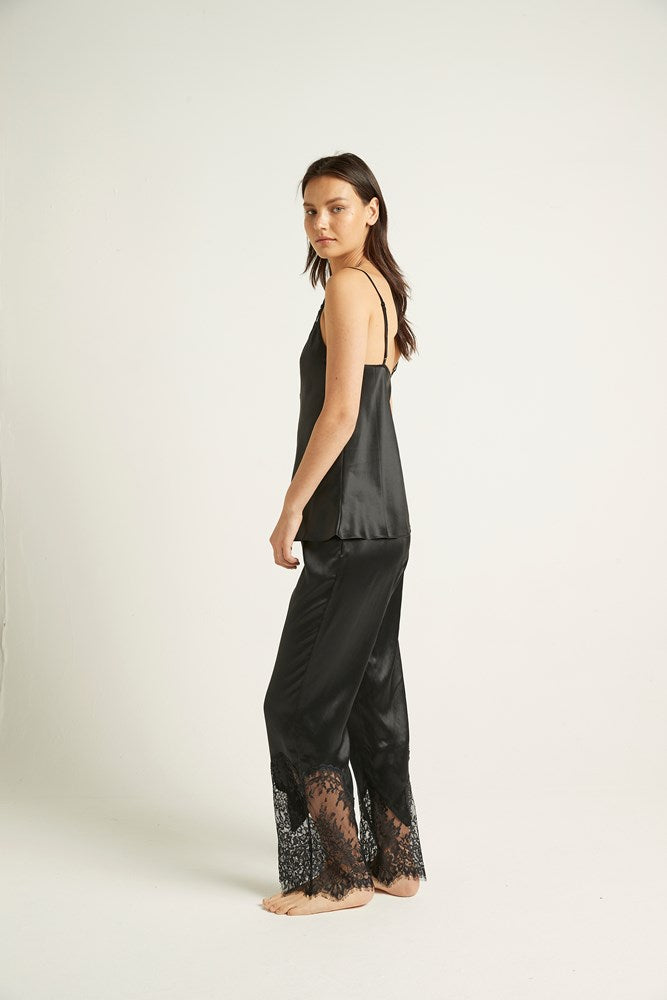 Black Silk Blaise Pant with Lace