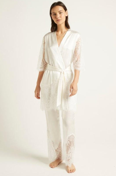 Ginia,Silk Robe With Lace,[variant_sku]