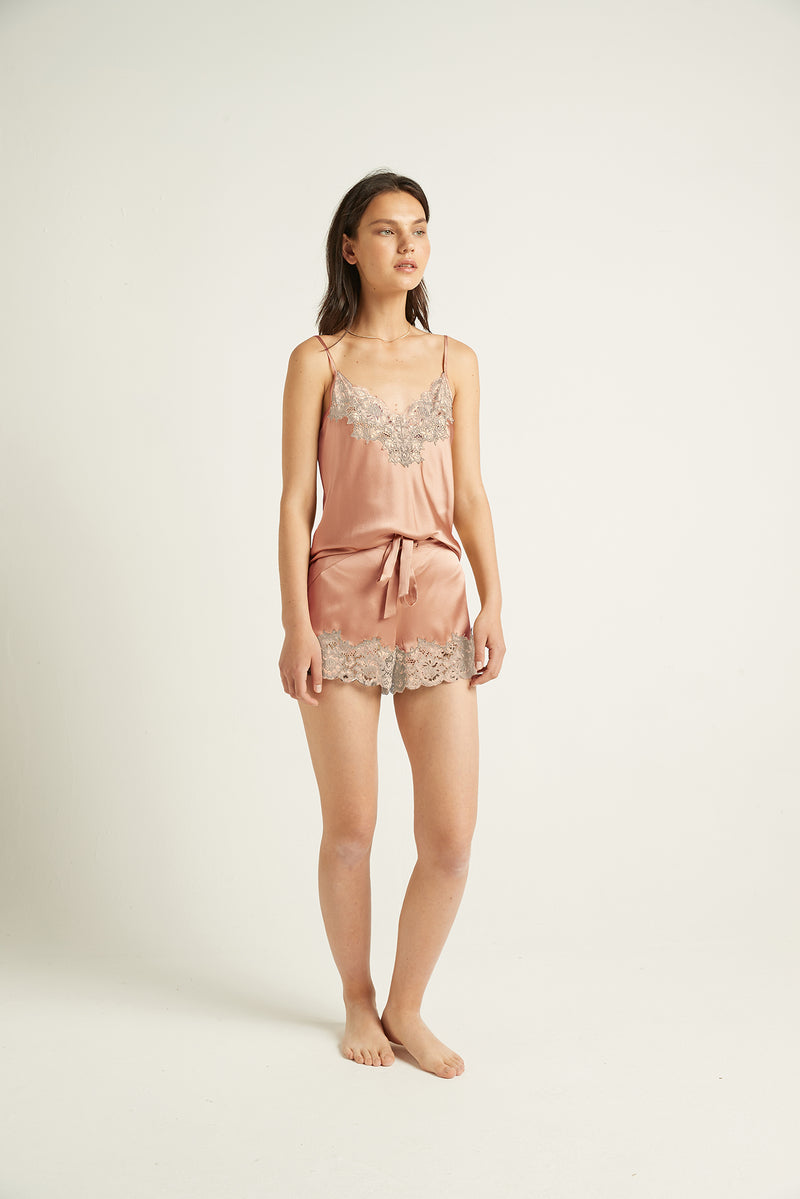 GINIA,Silk Short with Lace,Shorts