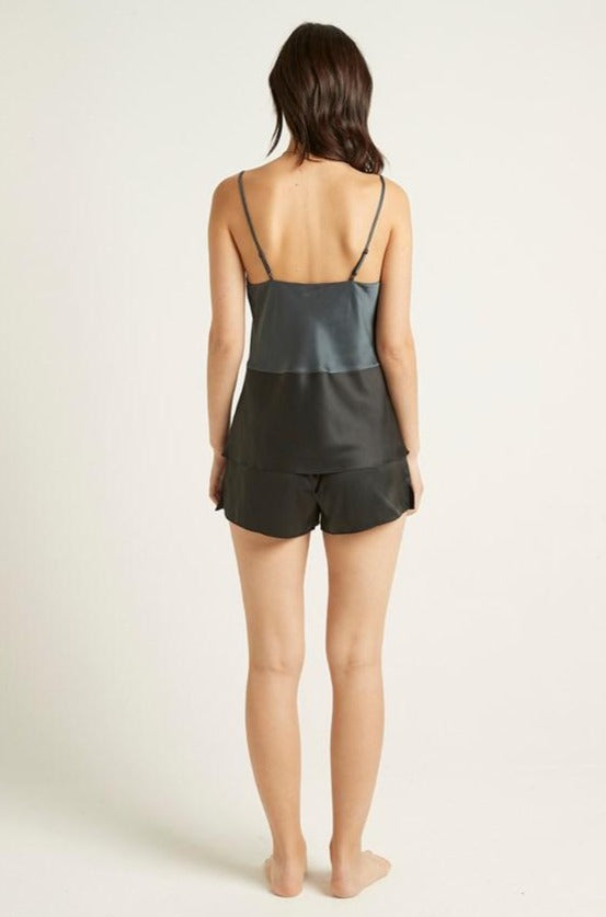 Black Satin Camille Short