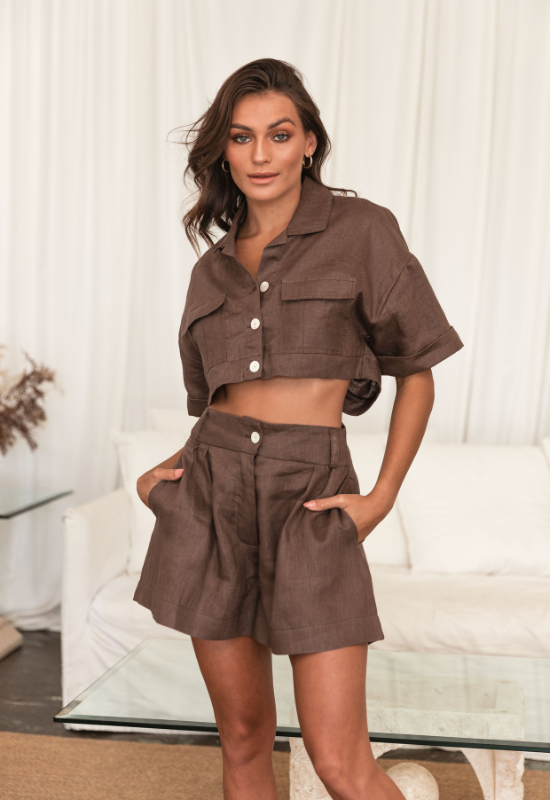 Sofia Linen Shirt in Chocolate