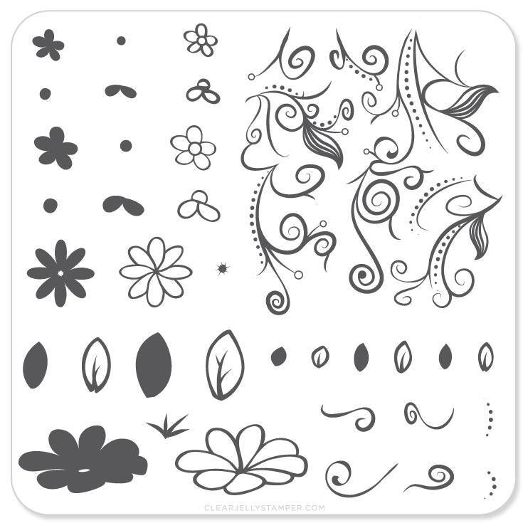 Small Stamping Plate Floral Twirl #2