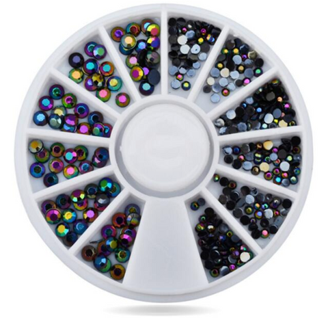 1.5, 2, 3 & 4mm Black AB Colour Rhinestone Wheel