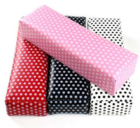 Red Polka Dot Leather Hand Cushion
