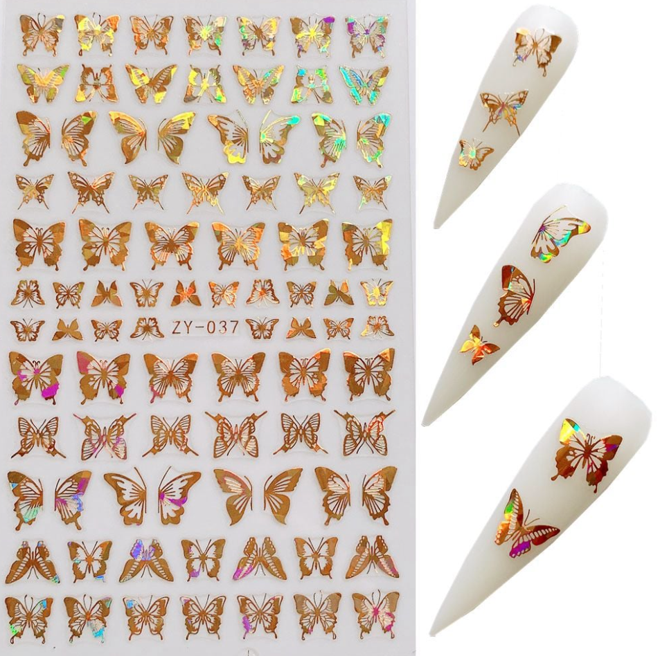 ZY-037 Gold Super Thin Butterfly Nail Sticker
