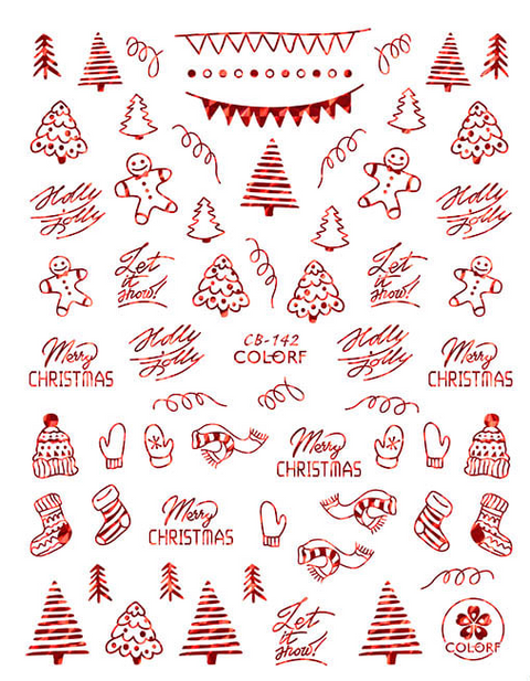 CB142 Christmas Nail Sticker