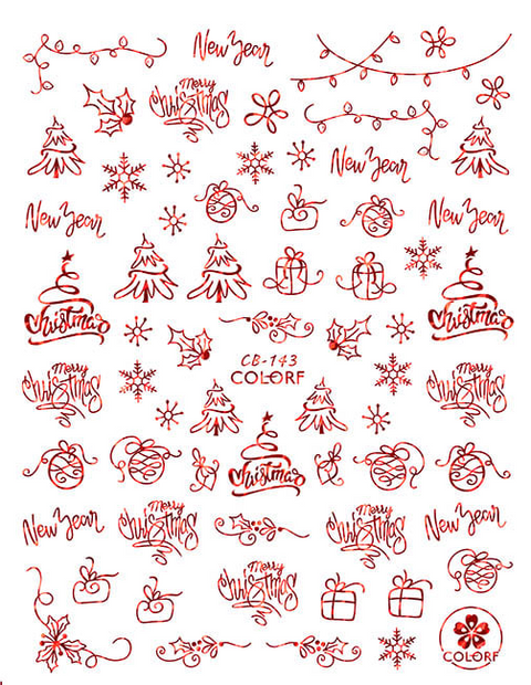 CB143 Christmas Nail Sticker
