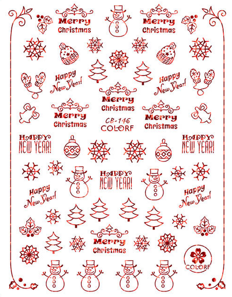 CB146 Christmas Nail Sticker
