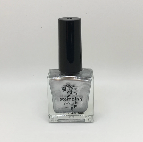 SILVER #4 Steal the Show - Nail Stamping Colour (5 Free Formula) 10ml Bottle