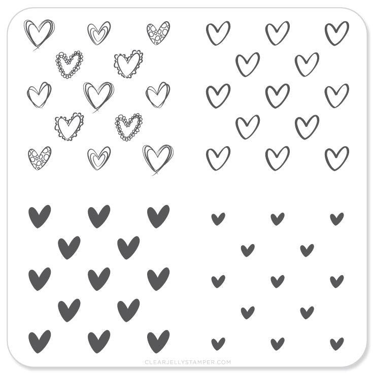 Small Stamping Plate Super Cute Hearts