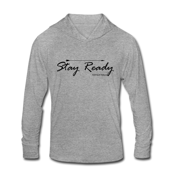 Stay Ready Tri-Blend Hoodie Shirt - heather gray