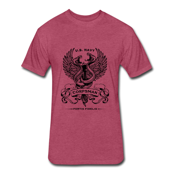 Fitted Corpsman Tee - heather burgundy