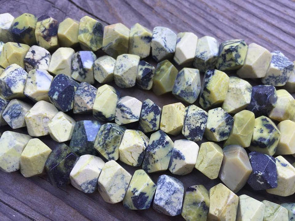 "Yellow Turquoise Jasper Faceted Nuggets - 7x12mm - 8"" Strand - Sam's Bead Shop"