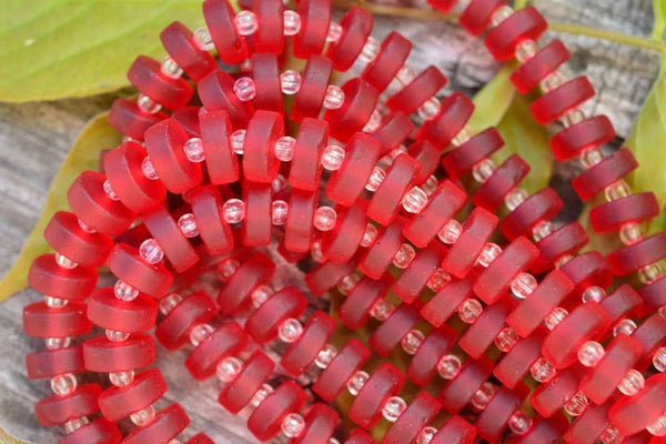 Cultured Sea Glass Heishi, Cherry Red - 9mm - 36-pc Strand