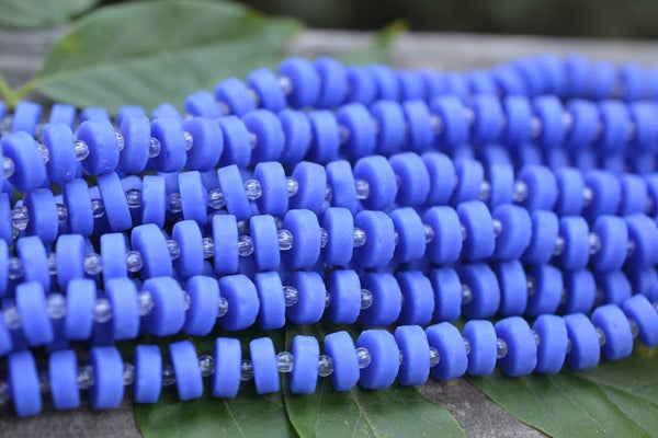 Cultured Sea Glass Heishi, Opaque Blue - 9mm - 36-pc Strand