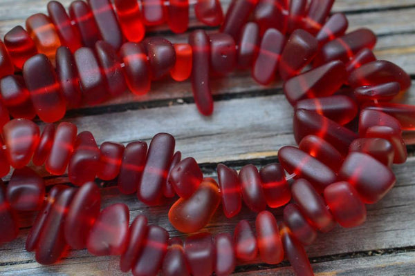 "Cultured Sea Glass Pebbles, Cherry Red - 8-16mm - 8"" Strand"