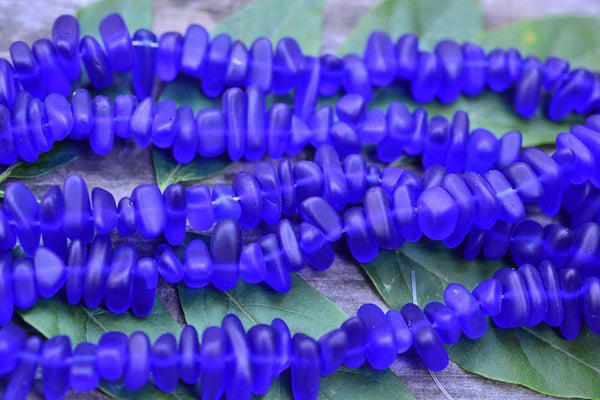 "Cultured Sea Glass Royal Blue Pebbles - 8-16mm - 8"" Strand"
