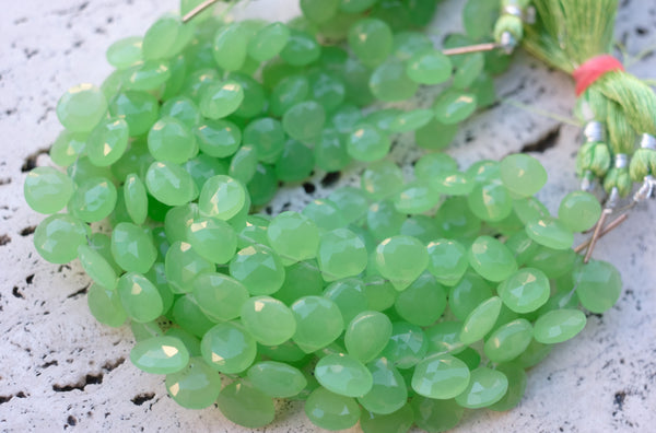 Indian-Cut Faceted Chalcedony Briolettes, Green - 9.5x10mm - 5-pc Set
