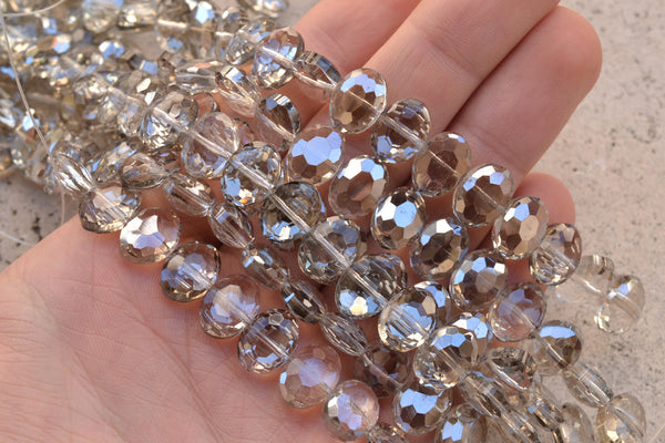 "Chinese Crystal Faceted Center-Drilled Ovals - 12x9mm - 8"" Strand (approx. 22-pcs)"