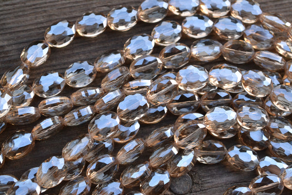 Chinese Crystal Faceted Ovals, Sparkle Gray - 9x12mm - 17-pc Strand