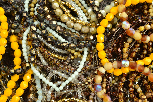 Czech Glass Grab Bag, Faceted Rounds, Browns Mix - 3-6mm - 3 Random Strands