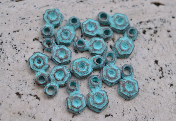 ETHOS Metal Cast Charms w/ Green Patina, Accent Hexagon - 6x12mm - 5-pc Set