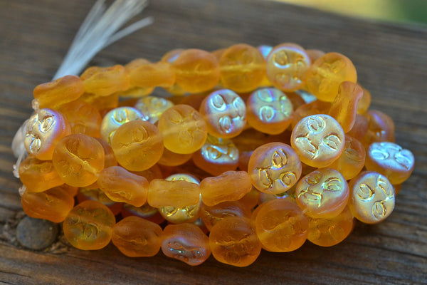 Czech Glass Moon Beads, Matte AB Yellow - 9mm - 15-pc Strand