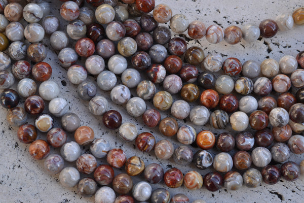 "Laguna Lace Agate Smooth Rounds - 8mm - 15"" Strand"