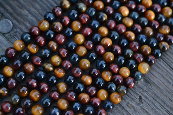 "Mixed Tiger's Eye Smooth Rounds - 6mm - 15"" Strand"