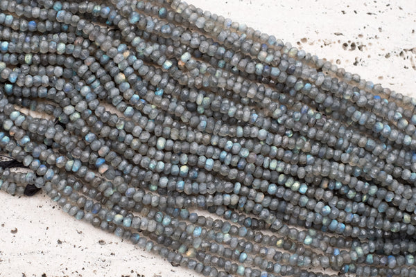 "Indian-Cut Faceted Labradorite Rondelles,  ~4mm - 12.5"" Strand"