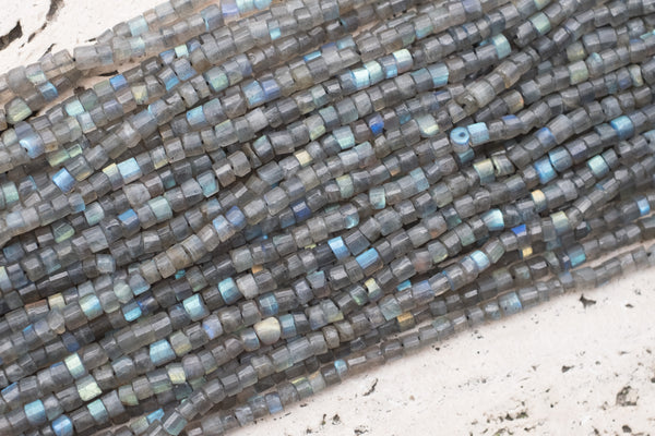 "Indian-Cut Faceted Labradorite Heishi, ~4mm - 12.5"" Strand"