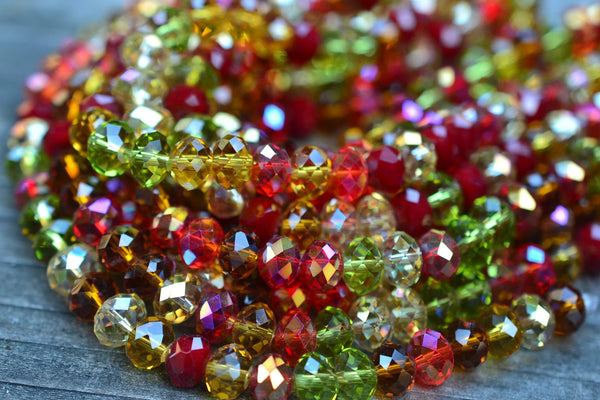 "Chinese Crystal Mixed Rondelles, Holiday Mix - 8x5mm - 8"" Strand"