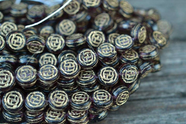 Czech Glass Coins w/ Gold Rose Pattern, Amethyst Purple - 8mm - 25-pc Strand