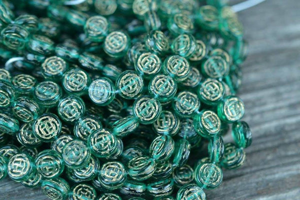 Czech Glass Coins w/ Gold Rose Pattern, Teal - 8mm - 25-pc Strand