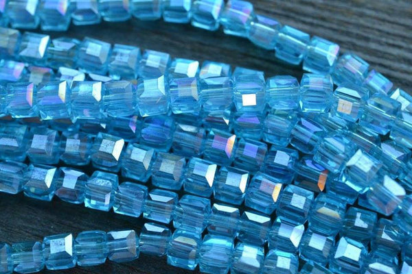 "Chinese Crystal Faceted Glass Cubes, AB Blue - 4mm - 8"" Strand"