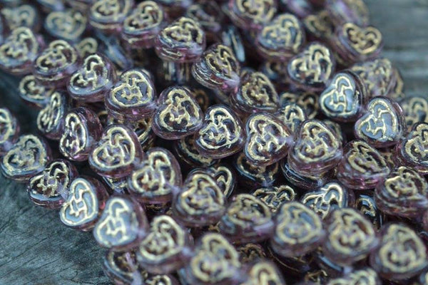 Czech Glass Heart w/ Gold Pattern, Amethyst Purple - 9.5mm - 25-pc Strand